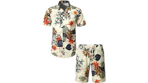 Jogal Men's Flower Casual Button-Down Hawaiian Set