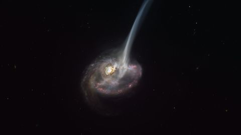 """This artist's impression of the distant galaxy ID2299 shows some of its gas being ejected by a """"tidal tail"""" as a result of a merger between two galaxies."""