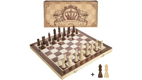 Amerous 15-Inch Magnetic Wooden Chess Set