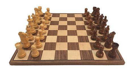 WorldWise Imports 3.5-Inch Sheesham French Chess Set With Walnut Board