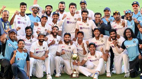 Team Indian celebrates a series victory against Australia.