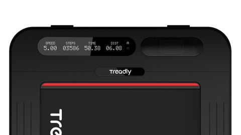 Treadly's base, which shows time, distance, steps and more