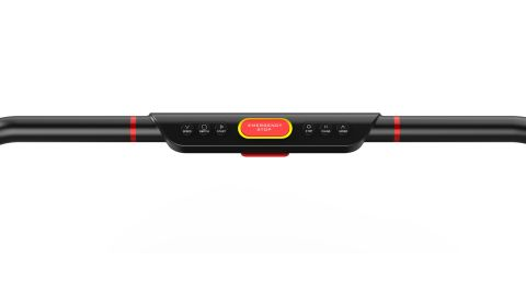Treadly's handrail, which allows you to control speed and has an automatic shutoff button