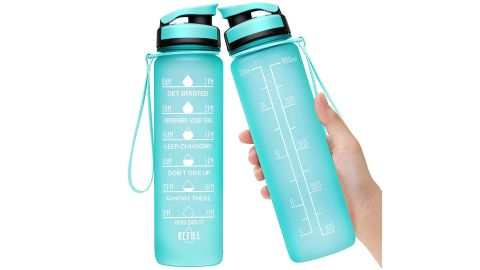 Elvira 32-Ounce Large Water Bottle With Motivational Time Marker