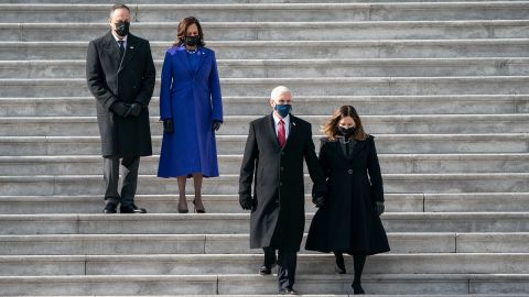 """Pence and his wife, Karen, are trailed by his successor, Kamala Harris, and her husband, Doug Emhoff, after <a href=""""http://www.cnn.com/2021/01/19/politics/gallery/joe-biden-inauguration-photos/index.html"""" target=""""_blank"""">the inauguration</a> in January 2021."""