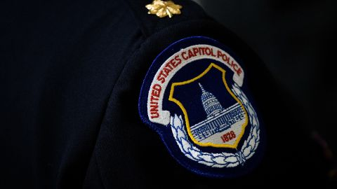 WASHINGTON, DC - MAY 9: A view of a U.S. Capitol Police badge on a uniform as officers wait for the start of an annual memorial service in honor of the four U.S. Capitol Police officers who have died in the line of duty, at the U.S. Capitol, May 9, 2016, in Washington, DC. Sgt. Clinton Holtz (2014), Detective John Gibson (1998), Officer Jacob Chestnut (1998) and Sgt. Christopher Eney (1984) are the four members of the U.S. Capitol Police who have lost their lives while on duty. (Photo by Drew Angerer/Getty Images)
