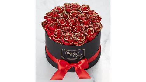 Magnificent Roses Preserved Gold-Kissed Red Roses
