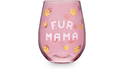 Blush Fur Mama Wine Glass