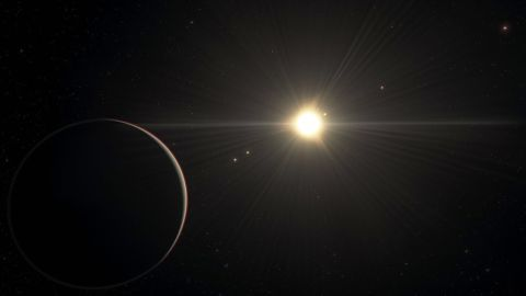 This artist's illustration shows the view from the furthest planet in the TOI-178 system.
