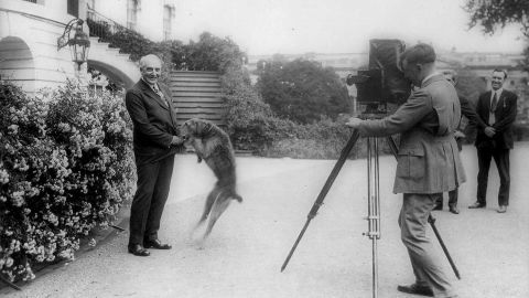 Warren G. Harding and his dog Laddie Boy are photographed in front of the White House in 1922. Laddie Boy was an Airedale terrier.