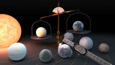 This illustration shows the metaphorical measuring of the density of each of the seven planets in the nearby TRAPPIST-1 system. New measurements have revealed the most precise densities yet for these planets and they're very similar -- which means they also likely have similar compositions.