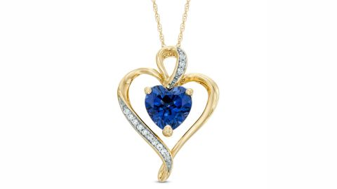 Zales Heart-Shaped Lab-Created Blue and White Sapphire Heart Pendant