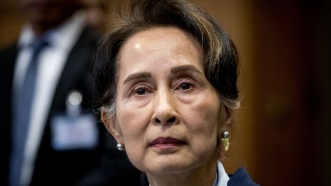 Myanmar's State Counselor Aung San Suu Kyi looks on before the UN's International Court of Justice on December 11, 2019.