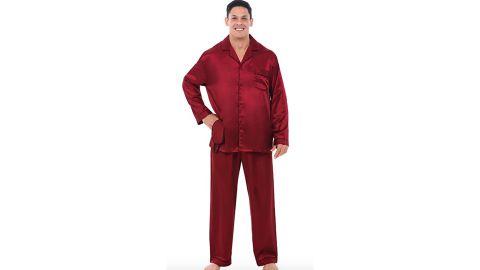 Alexander Del Rossa Button-Down Satin Pajama Set