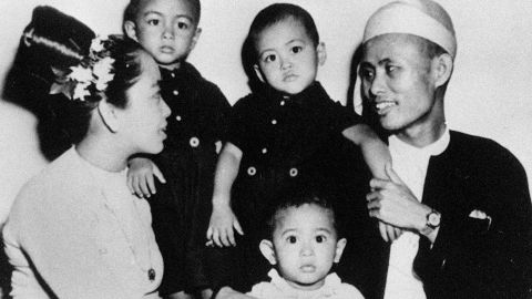 Suu Kyi, front center, is seen with her parents and her two elder brothers in 1947. Her father, Aung San, was the commander of the Burma Independence Army and helped negotiate the country's independence from Britain. He was assassinated on July 19, 1947. Suu Kyi's mother, Ma Khin Kyi, was a diplomat who was once an ambassador to India.