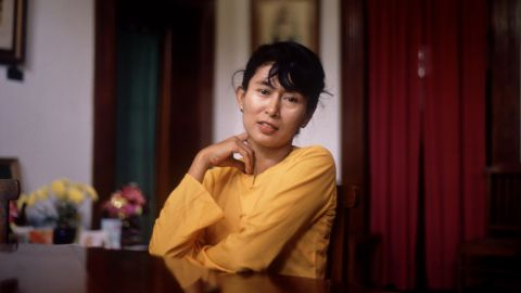 Suu Kyi poses for a photo in June 1989.