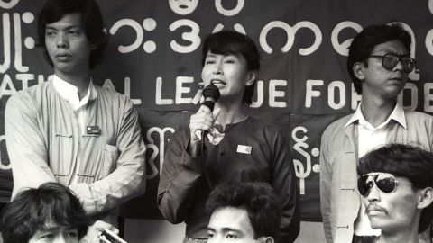 Suu Kyi addresses a crowd of supporters in Yangon in July 1989. About two weeks later, she was placed under house arrest and charged with trying to divide the military. She denied the charges.