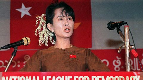 Suu Kyi addresses supporters in 1997, on the 49th anniversary of Myanmar's independence movement.