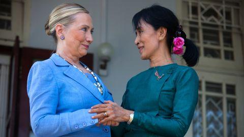 Suu Kyi meets US Secretary of State Hillary Clinton at Suu Kyi's residence in Yangon in 2011.