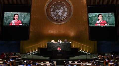 Suu Kyi addresses the United Nations General Assembly in New York in 2016.