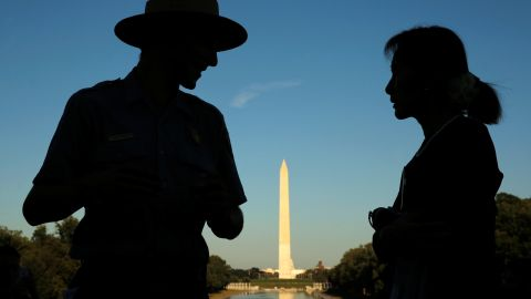 Suu Kyi is guided by National Park Service Ranger Heath Mitchell on her visit to Washington, DC, in 2016.