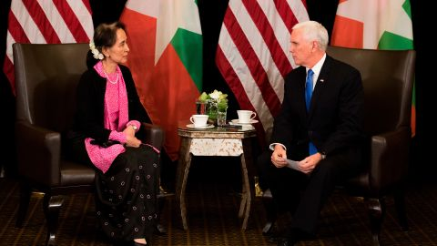 US Vice President Mike Pence meets with Suu Kyi on the sidelines of the ASEAN summit in Singapore in 2018.