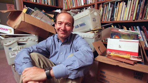 Bezos is seen in 1996, a year after he started Amazon.com. At the time it was just an online bookseller.