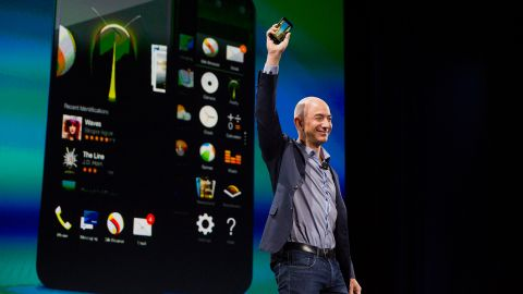 Bezos unveils the Fire Phone during an event in Seattle in 2014.