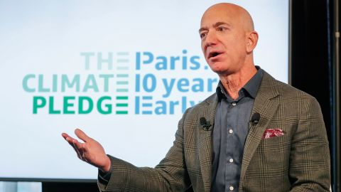 Bezos announces the co-founding of The Climate Pledge in 2019. Bezos' broad plan to fight climate change includes meeting the Paris climate agreement 10 years early. That would make the company carbon-neutral by 2040. Bezos also announced that Amazon would purchase 100,000 electric vans.