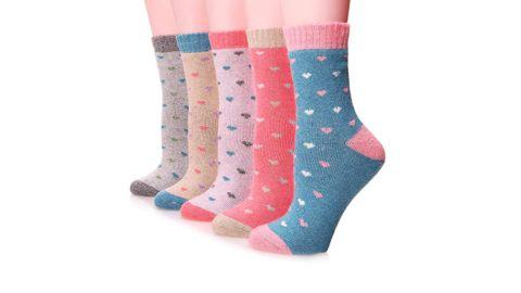 Women's Wool Thermal Heart Socks, 5-Pack