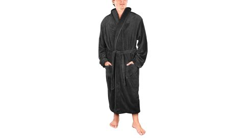 NY Threads Luxurious Men's Shawl Collar Fleece Bathrobe
