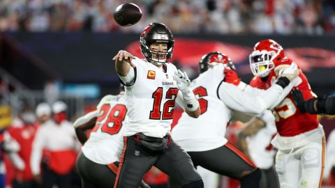 Tampa Bay Buccaneers quarterback Tom Brady (12) throws the ball during the NFL Super Bowl 55 football game against the Kansas City Chiefs, Sunday, Feb. 7, 2021 in Tampa, Fla. (Ben Liebenberg via AP)