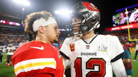 Brady and Kansas City quarterback Patrick Mahomes meet after the game.