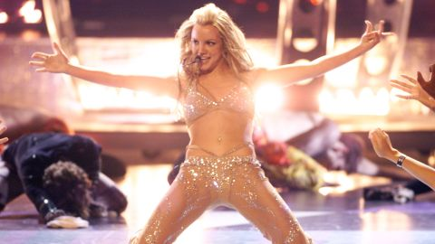 Spears performs at the MTV Video Music Awards in 2000.