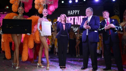 """Clark County, Nevada, proclaimed November 5, 2014, as """"Britney Day"""" on the Las Vegas Strip. In 2013, Spears started a two-year residency at the Planet Hollywood Resort & Casino in Las Vegas."""