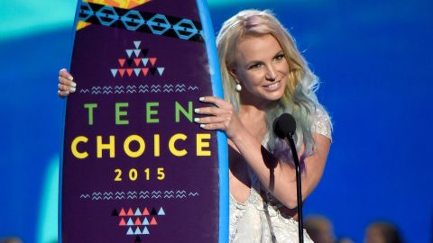 Spears speaks during the Teen Choice Awards in 2015.