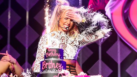 Spears gets a birthday cake at the Jingle Ball event in Los Angeles in 2016.