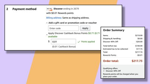 You only need to apply 1 Discover cash back point to your Amazon order to get the discount.