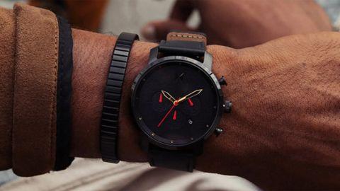 MVMT Chrono Caviar Chronograph Leather Strap Watch, 45mm