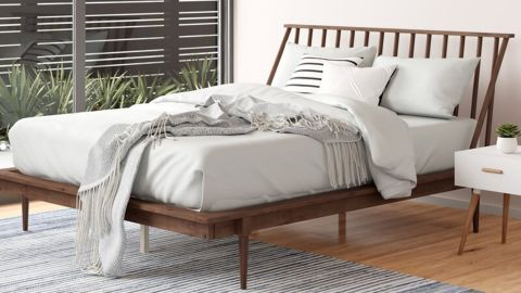 Dorinda Solid Wood Low Profile Standard Bed