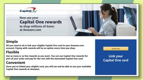 """Add your Capital One card to Amazon's """"Shop with Points"""" program."""
