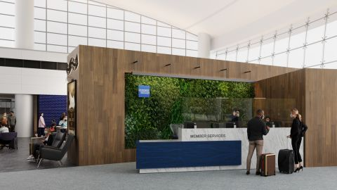 A rendering of the entrance to the new Seattle Centurion Lounge in the airport's Central Terminal