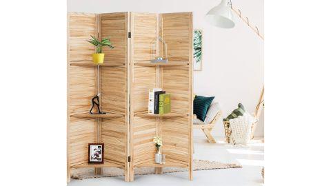 Giantex 4-Panel Wood Room Divider