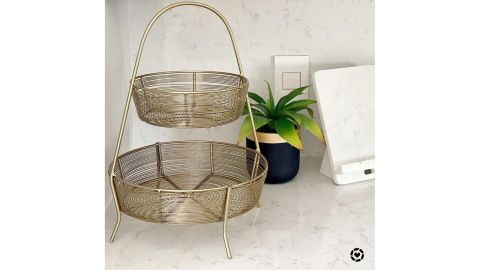 Threshold 2-Tier Gold-Plated Wire Basket