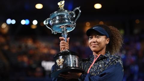 Naomi Osaka of Japan poses with the Daphne Akhurst Memorial Cup after winning her Women's Singles Final match against Jennifer Brady of the United States during day 13 of the 2021 Australian Open at Melbourne Park on February 20, 2021 in Melbourne, Australia.