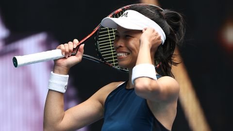 MELBOURNE, AUSTRALIA - FEBRUARY 14: Su-Wei Hsieh of Chinese Taipei celebrates victory in her Women's Singles fourth round match against Marketa Vondrousova of Czech Republic during day seven of the 2021 Australian Open at Melbourne Park on February 14, 2021 in Melbourne, Australia. (Photo by Matt King/Getty Images)