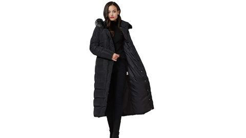 Molodo Women's Long Down Coat With Fur Hood