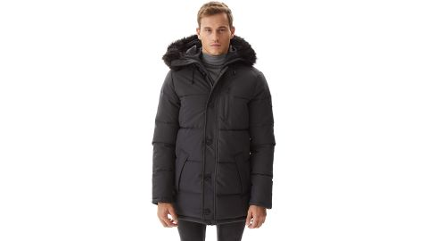 PUREMSX Men's Winter Jacket Thickened Waterproof Quilted Hooded Parka