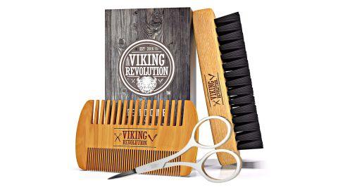 Viking Revolution Beard Comb and Beard Brush Set for Men