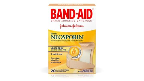 Band-Aid Bandages With Neosporin Antibiotic Ointment, Assorted Sizes, 20-Count